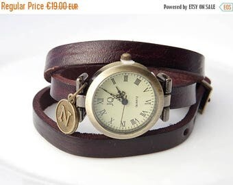 Sale Brown leather watch Women wrist watch Personalized watches Monogrammed watch  Italian Charm Watch Personalised Anniversary Gift for her