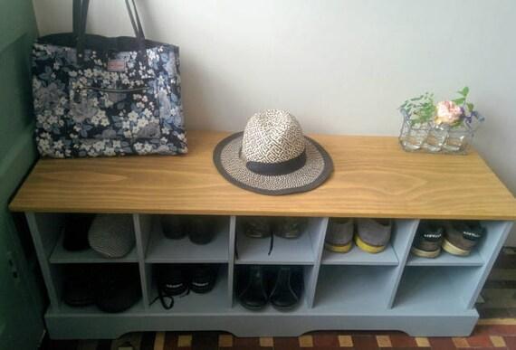 Handmade shabby chic shoe storage bench