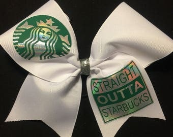 Straight Outta Starbucks Bow - Starbucks Bows - Team orders welcome - Practice Hairbows - Starbucks accessory - Starbucks hairbows