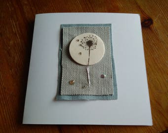 Partly reycycled Porcelain Dandelion greetings card  with Swarovski Crystals