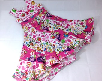 SHOPKINS with Hearts Pageant Twirl Dress, Custom Boutique in sizes 6M- 2 girls