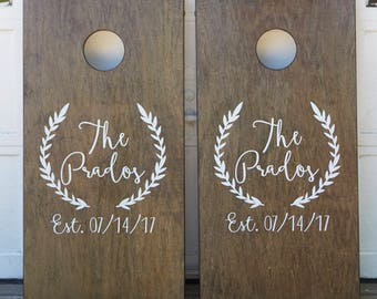 Custom Cornhole Boards ONLY - Bean Bag Toss - Monogram Wreath