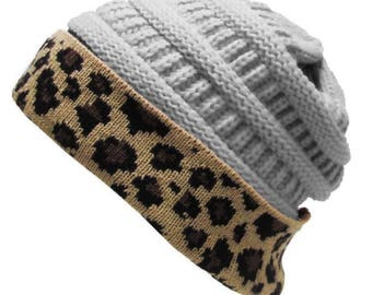 Leopard Fold Up Beanie Light Gray