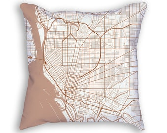 Buffalo New York City Street Map Throw Pillow