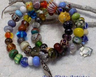 Bracelet 3 rows lampwork