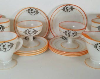 Vintage Milk Glass Dinnerware Set with Orange Trim and Black Geese Design 19 piece set