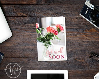 Get Well Soon Greeting Card set up for east printing