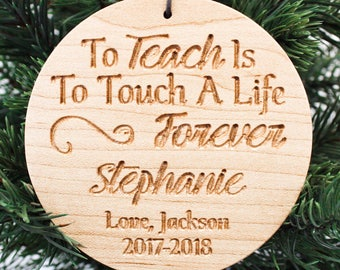 Carved Maple Personalized Teacher Ornament / Christmas Ornaments Handmade / Holiday Teacher Gift Personalized