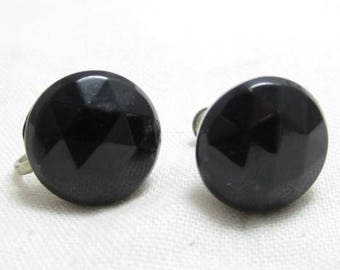 Antique Old Screwbacks 15Mm Black Faceted Glass Domed Cabochon Vintage Earrings