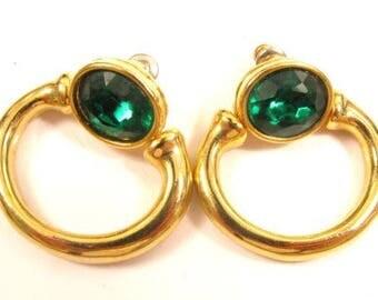 Elegant Vintage Emerald Green Rhinestone Gold Plated Hoop Dangle Earrings*Y576