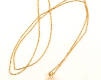 "Vintage Beautiful 14K Gold Thin Chain Necklace & Teardrop Shape Pendant*20""*E456"