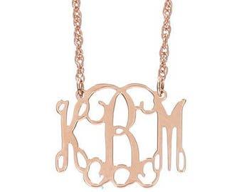 Small Rose Gold Monogram Filigree Necklace - Interlocking Collection