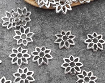 Cups flowers, bead caps, silver - Metal filigree flowers 7 x 2 mm