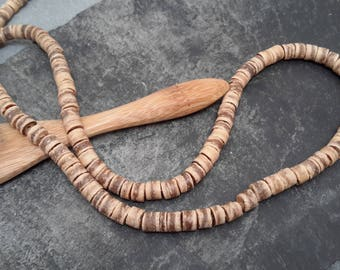tube beads rondelle 5 mm Brown coconut wood, natural pearls, 1 row of 44 cm or about 130 pcs