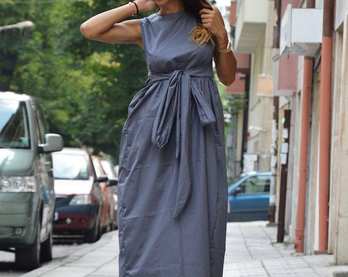 Maxi Gray Cotton Dress, Plus Size Long Kaftan, Extravagant Loose Casual Dress, Sleeveless Zipped Dress By SSDfashion
