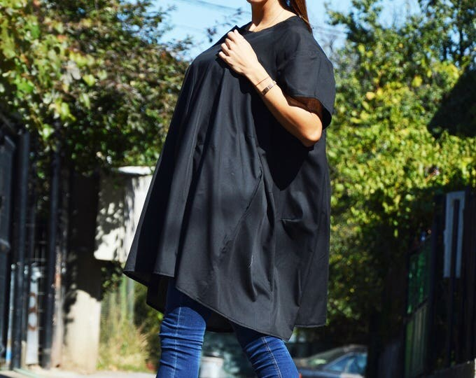 Black Asymmetric Plaid Loose Shirt, Extravagant Casual Cotton Tunic, Oversize Sexy Top by SSDfashion