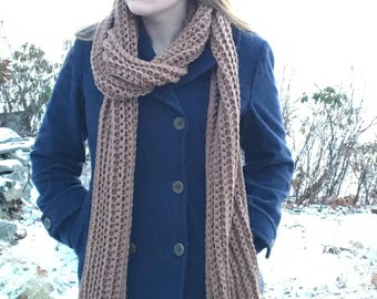 Crocheted Scarf - Brown - Handmade - For Her