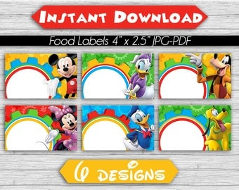 Food Tent Labels Mickey Mouse Clubhouse - Instant Download - Blank