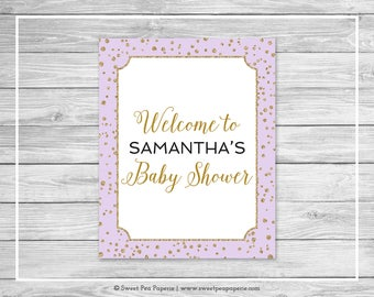 Purple and Gold Baby Shower Welcome Sign - Printable Baby Shower Welcome Sign - Purple and Gold Confetti Baby Shower - EDITABLE - SP148