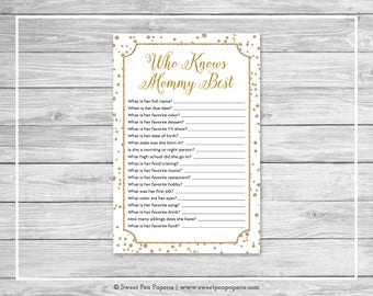 White and Gold Baby Shower Who Knows Mommy Best Game - Printable Baby Shower Who Knows Mommy Best - White and Gold Baby Shower Game - SP149
