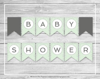 Mint and Silver Baby Shower Banner - Printable Baby Shower Banner - Mint and Silver Baby Shower - Baby Shower Banner - EDITABLE - SP152