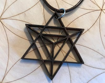 Sacred Geometry Merkaba Wooden Pendant - Stained Dark - Birch Wood