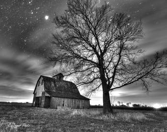 "Original Artist Print --  ""Old Barn with a Tree at Night"" by Donna Caplinger"