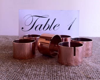 10 Copper place card holder, Copper pipe name tag holder, Rustic wedding table decor, Copper wedding decoration .