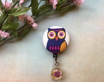 Violet Owl Portrait -Nurse Retractable ID Badge Reel/ RN Badge Holder/Doctor Badge Reel/Nurse Badge Holder/Nursing Student Gifts