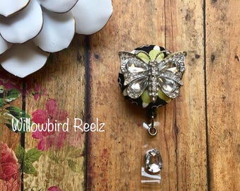 Chandelier Butterfly -Nurse Retractable ID Badge Reel/ RN Badge Holder/Doctor Badge Reel/Nurse Badge Holder/Nursing Student Gifts
