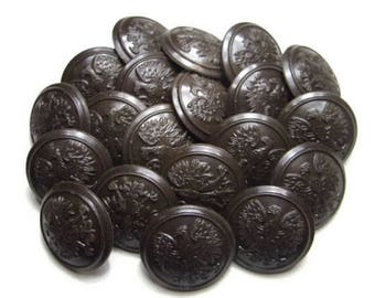 Brown buttons - set lot of vintage buttons eagle