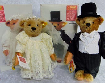 Vintage 1980's Pair Steiff BRIDE & GROOM BEARS For Wedding Party Mohair Limited Edition Wedding Dress Tuxedo w/ Ear Tags 0155/36 and 0155/37