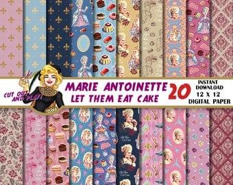 Marie Antoinette digital paper, Royal party, Queen, Baroque, Shabby chic, Princess, Let them Eat cake, Cake, Paris party, patterns,scrapbook