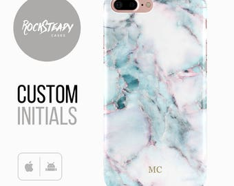 Monogram Marble phone case, Personalised iPhone 6, 7, 8 Plus, X, 5S, SE custom case, pink purple samsung Galaxy S8 S6, S7, S5 monogram cover