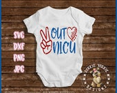 Peace out NICU - svg, dxf, png, jpg -  heart, peace sign, preemie, premature, baby, neo-natal, Cricut, Studio Cutable file