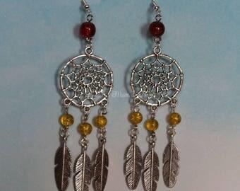 Dream catcher earrings yellow