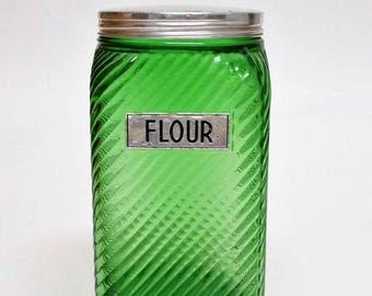 1930s Owens Illinois Flour Pantry Canister Jar