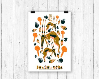 Screen print poster antilope - Donso at Vera Groningen - gig poster 70 x 50 cm