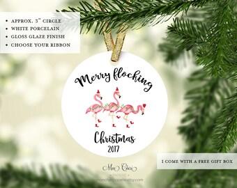 Merry Flocking Christmas Ornament | Flamingo Ornament | Christmas Ornament | Christmas Gift | Flamingo Christmas | Flamingos at Christmas