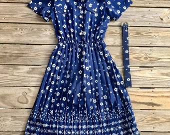 80's Navy Floral Dress | Pleated Blue Dress