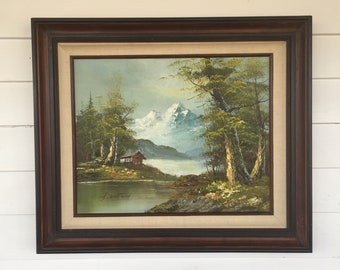 Vintage Landscape Oil Painting of a Mountain Scene in Wooden Frame Signed by Artist