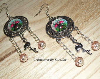 Stud Earrings featuring a pink cabochon flament, Flamingo charm and pink beads on chain
