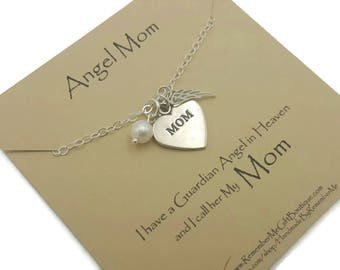 Memorial Jewelry Mom, Memorial Necklace Angel Wing in Sterling Silver, Memorial Gift for Loss of Mother, Sympathy Gift Idea, Angel Mom Gift