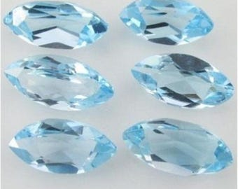 Lot Of 10 Pieces Sky Blue Topaz marquise cut faceted Calibrated loose gemstone for jewelry