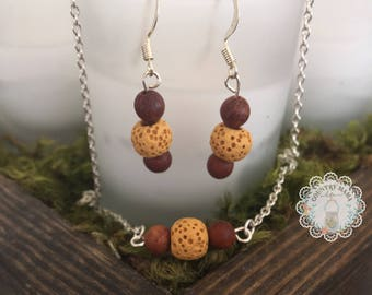 Essential oil diffuser earrings and necklace set