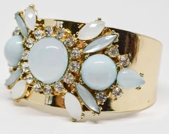 Gorgeous gold tone and crystals cuff bracelet