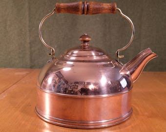 Revere Ware 1801 Copper, Brass, and Wood Handle 2QT Tea Kettle, Great Condition!