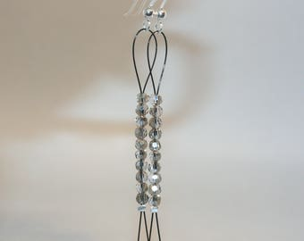 Iridescent glass beads Earrings-elements in sterling silver, jewellery with glass beads, long Ohrrhänger, grey silver Black