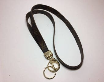Louis Vuitton Lanyard, LV Lanyard, Vuitton Lanyard, Recycled, Upcycled, Repurposed, Reworked, Gold Hardware and Clasp
