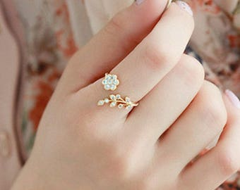 Ring Flower Ring Dainty Ring Rose Ring Gold Ring Adjustable Ring Small Rose Ring Jewelry Leaf Ring Twisted Ring Dainty Ring